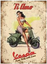 Retro Vintage Metal Sign Plaque Vespa Scooter Ti Amo Italy Wall Art Sign Gift
