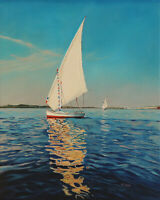 """Original Artwork oil painting Sailing boat on stretch canvas, nautical 16''x20"""""""