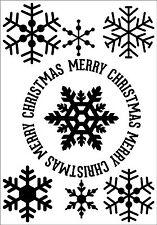 Feliz Navidad Vinilo citas Copos de Nieve Invierno Vacaciones Calcomanía Adhesivo Pared Arte MS2