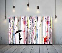 BANKSY COLOURED RAIN GIRL UMBRELLA 2-DEEP FRAMED CANVAS WALL ART GRAFFITI PRINT
