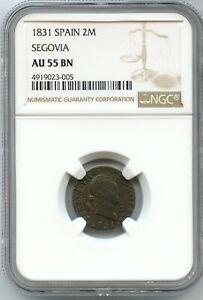 1831 Spain Segovia 2 Maravedis Fernando VII NGC AU55 BN Coin Spanish - JC395