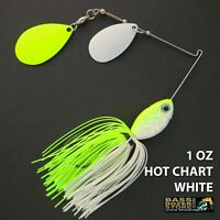 Bassdozer spinnerbaits DOUBLE INDIANA Hot Chart White spinner bait bass lures