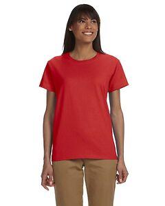 Gildan G200L  Ladies Red Ultra Cotton  G2000L T-shirt Rouge rojo Nwot  Z7