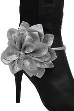 New Women Silver Faux Leather Boot Bracelet Anklet Shoe Big Flower Charm Jewelry