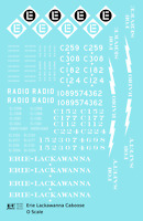 K4 O Decals Erie Lackawanna Caboose White Radio