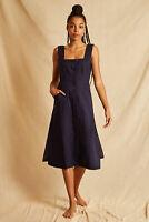 Louche Sustain Womens Willow Button Through Midi Dress Navy