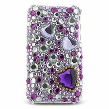 bling strass schutz hülle für apple iphone 3g/3gs - purple heart