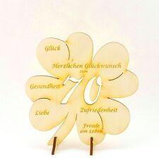 70. Geburtstag, gravierte Glückwünsche auf einem Kleeblatt als Tischdeko 11cm