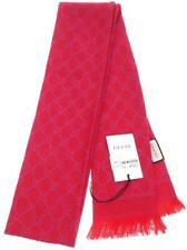NEW GUCCI RED HOT PINK METALLIC GG PRINT SKINNY LONG WOOL SCARF, SHAWL