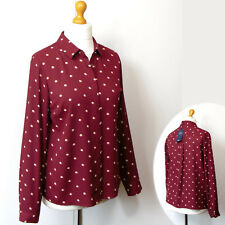 New M&S Silky SPOT PRINT Collared BLOUSE ~ Size 12 ~ MULBERRY Mix