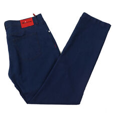 NWT $1095 KITON NAPOLI Indigo Blue Lightweight Cotton-Linen Jeans 38 W