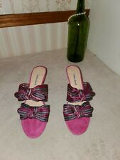 Charles David Pink Bow Striped fabric Open Toe Suede Slide Sandal Heel size 11 M