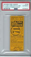 1923 YANKEE STADIUM BASEBALL TICKET BABE RUTH 2 2Bs, SB TIGERS TY COBB PSA RARE!