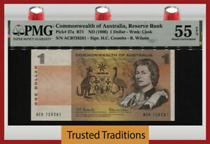 TT PK 37a 1966 COMMONWEALTH OF AUSTRALIA 1 DOLLAR QUEEN ELIZABETH II PMG 55 EPQ!