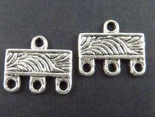 200pcs Tibetan Silver Rectangle 3-to-1 Connectors 12x10mm 20