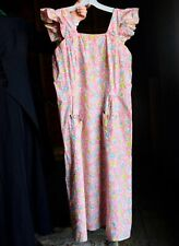Vintage 1940s Pink Flower Print Pinafore Dress Size 10 to 12 Large
