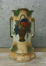 Antique Porcelain Vase with Handles, Pattern Basket with Fruit