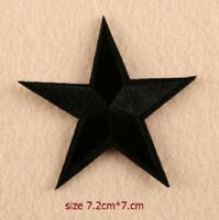 Black Star Patch Embroidered Iron Sew On  Applique Badge Motif Biker Goth Rock