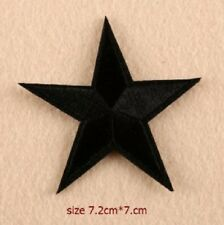 Black Star Embroidered Iron Sew On Patch Applique Badge Motif Biker Goth Rock
