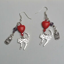 OoaK hand made charm earrings owl and pussycat classic love story
