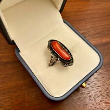Mediterranean Coral Cab Ring- Size 7.5 Old Pawn Native American Sterling Silver