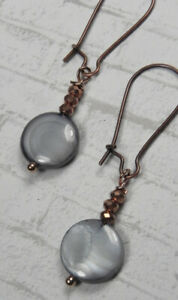 Blue Grey Shell Crystal Antique Copper Pierced Earrings Handmade New