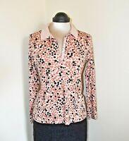 Lands' End Top Shell Pink Leaf Print Polo Shirt Soft Pima Cotton Size S BNWOT