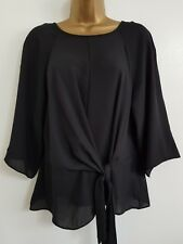 NEW Ex Wall*s 8-18 Knot Front Black Chiffon Tunic Top Blouse Smart Formal Work