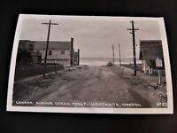 Manzanita Oregon OR Laneda Avenue Ocean Front 1940s RPPC Real Photo Car Shop St.
