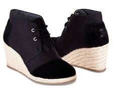 NEW Toms Desert Wedge Black Suede Burlap Lace Up Shoes Boots Heels Size 7.5