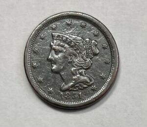 1851 Braided Hair Half Cent XF Extremely Fine