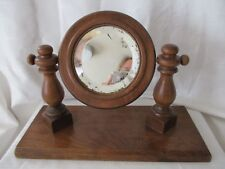 Antique wood dresser top shaving mirror beveled glass