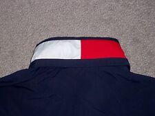 Mens Vintage NWOT TOMMY HILFIGER Jacket w/Hideaway Hood L BLUE w/HILFIGER FLAG