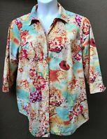 Alia Women's Sz. 18W Floral Blouse Shirt Pearled Btns Seafoam Yllw Coral 3/4 Slv