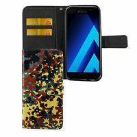 Schutz Hülle für Handy Samsung Galaxy A5 2017 Bundeswehr Tasche Wallet Cover Neu