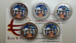 5 x 2 euro 2016 ADFGJ GERMANIA colorat color farbe Allemagne Germany Deutschland