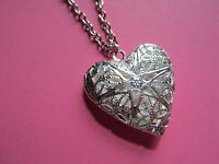 Valentines Day Silver Plated Filigree Heart Locket Necklace New in Gift Bag Wife