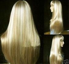 stylish long blonde straight hair wig+cap+gift