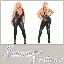 Lace & Wet Look Jumpsuit Catsuit Cosplay Black Outfit Sexy Plus Size 16 18 20