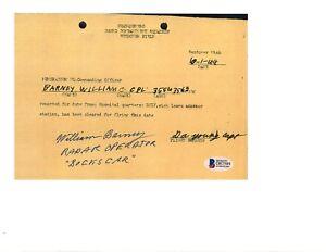 William Barney Signed Sick Leave Document BAS D87589 WWII Bockscar Nagasaki