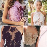 Women Halter Gold Line Embroidery Mesh Overlay Floral Lace Crop Top Bustier