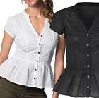 Ladies Peplum Top UK Size 20 White -Plus Sizes -Cotton