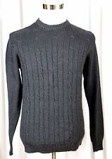 OSCAR de la RENTA GRAY COTTON BLEND CABLE KNITTED STRETCH CREWNECK SWEATER Sz S
