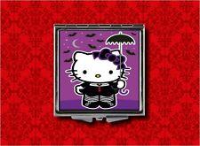 HELLO GOTH KITTY BATS PARASOL KAWAII MAKEUP POCKET COMPACT MIRROR