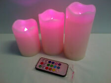 3 Pillar Candles LED Remote Control Changing Colour Flameless Wedding Battery Op
