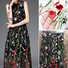 "1yard Flowers Embroidery Black Tulle Lace Fabric Clothes Wedding Dress 51"" Width"