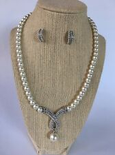 Faux Pearl Rhinestone Silver Tone Necklace Earring Set Formal Wedding Party