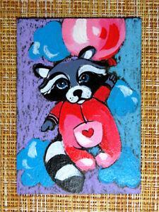 ACEO original pastel painting outsider folk art brut #010560 surreal raccoon