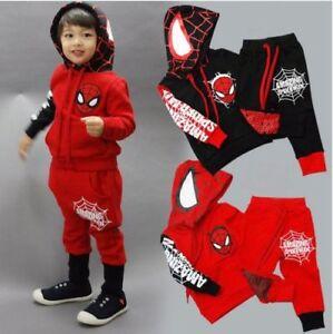 Kids Boys Spiderman Tracksuit Hoodies Sweatshirt Tops Pants Clothes Outfits Sets