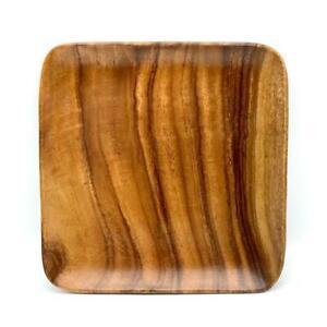 "Vintage Hand Carved Monkey Pod 10"" Square Wooden Rimmed Dish Platter Catch-All"